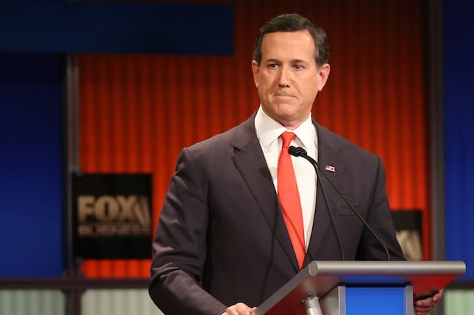 Rick Santorum at a presidential debate