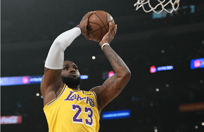 LeBron James #23 of the Los Angeles Lakers goes up for a dunk