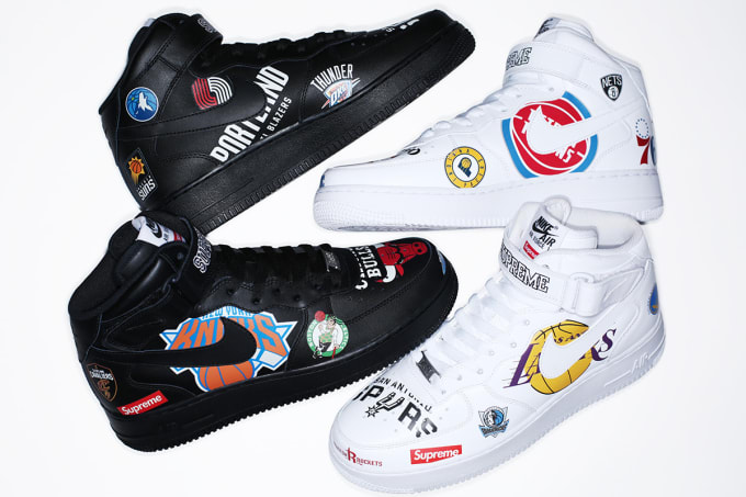 12fc9202968e03 Supreme x Nike x NBA Air Force 1 Mid  White  AQ8017-100