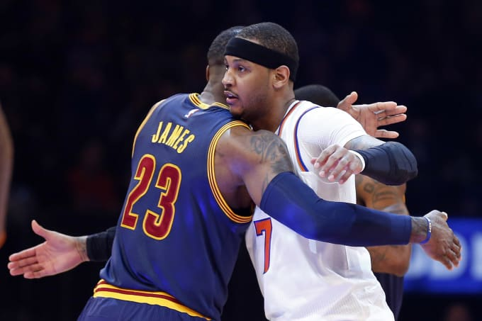 Carmelo Anthony LeBron James Knicks Cavs Hug MSG 2017