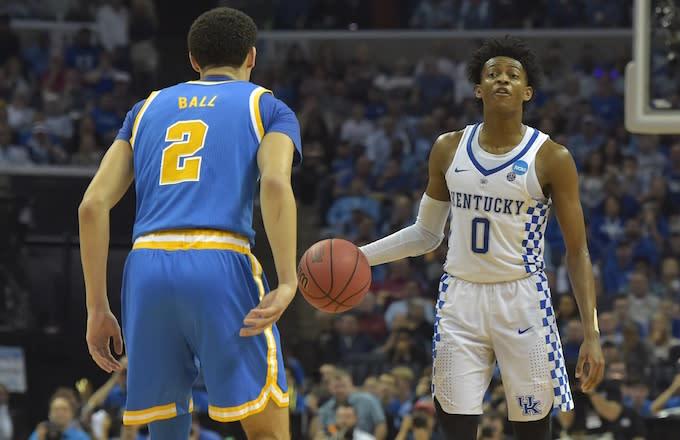 Lonzo Ball guards De'Aaron Fox during Kentucky/UCLA game.