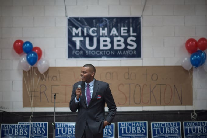 Michael Tubbs at his campaign kickoff.