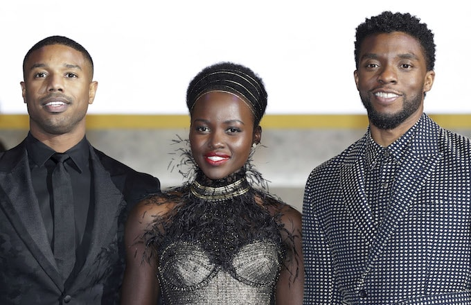 Actor Michael B. Jordan, Lupita Nyong'o, and Chadwick Boseman