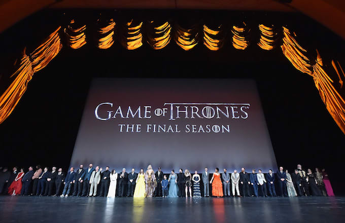 'Game of Thrones' cast members gather onstage during the 'Game Of Thrones' Season 8 NY Premiere .