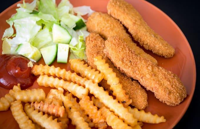 Chicken fingers or chicken nuggets.