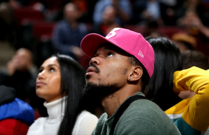 Music Artist Chance the Rapper is seen at the game