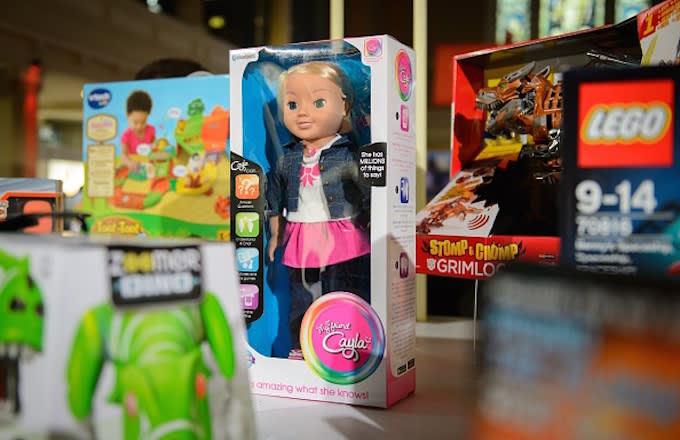 'My Friend Cayla' is displayed at the DreamToys toy fair