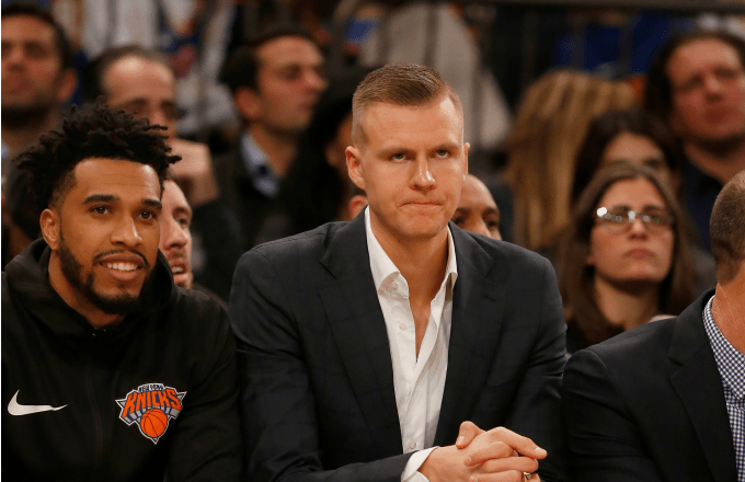Kristaps Porzingis #6 of the New York Knicks looks on during a game