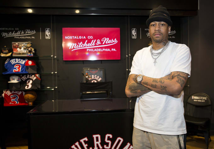 Allen Iverson at the opening of the Mitchell   Ness annex at the NBA Store  in eb34fd75c