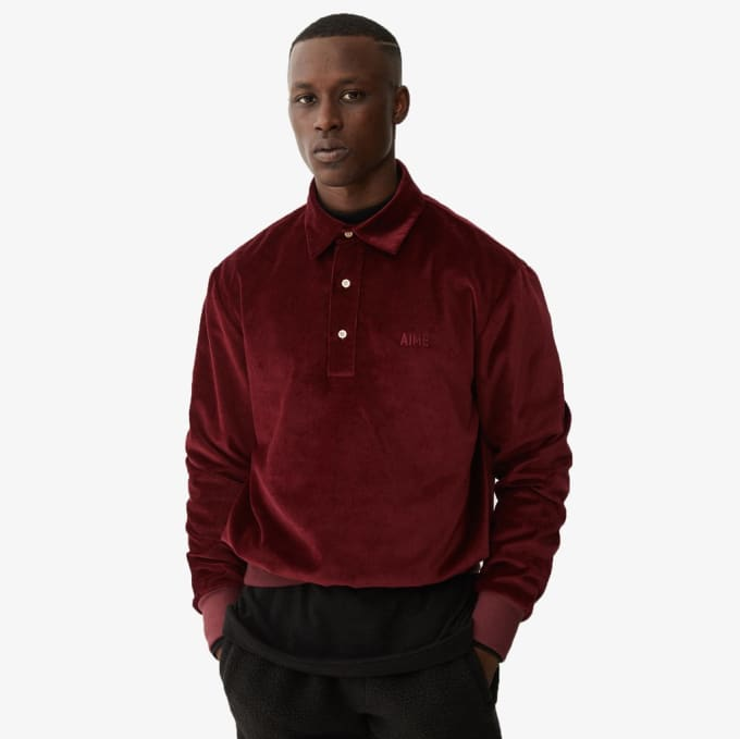 Aimé Leon Dore FW 2017 Velveteen Button Up Burgundy