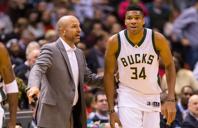 Giannis Antetokounmpo and Bucks coach Jason Kidd.