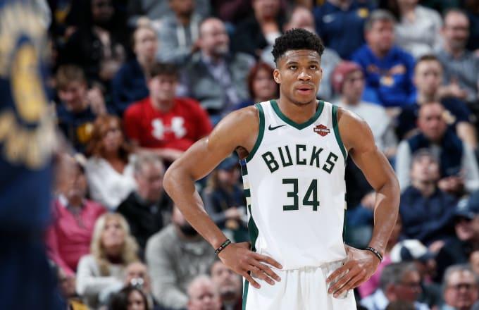 Giannis Antetokounmpo #34 of the Milwaukee Bucks looks on