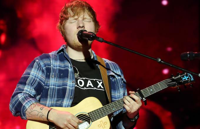 Ed Sheeran performing at Capital's Jingle Bell Ball.