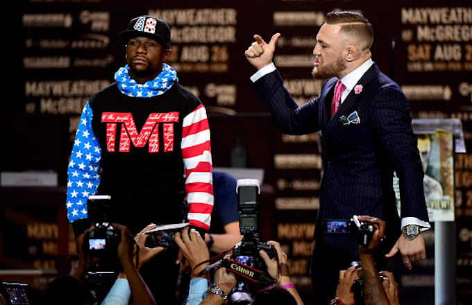 Floyd Mayweather Jr. and Conor McGregor faceoff on stage