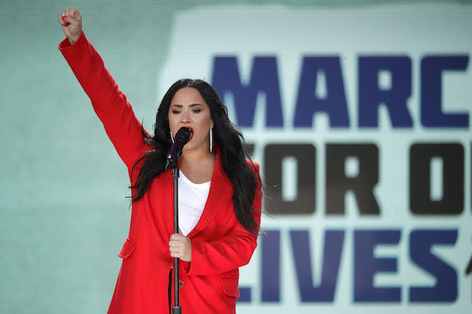 Demi Lovator at DC March For Our Lives protest.
