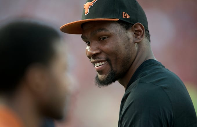 c1178bdb3f43 Image via Getty Cooper Neill. Golden State Warriors forward Kevin Durant is donating   3 million to his alma mater University of Texas ...
