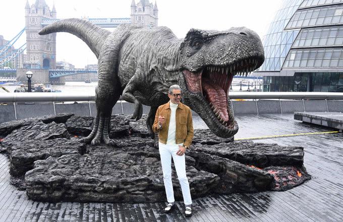 Jeff Goldblum with a fake dinosaur