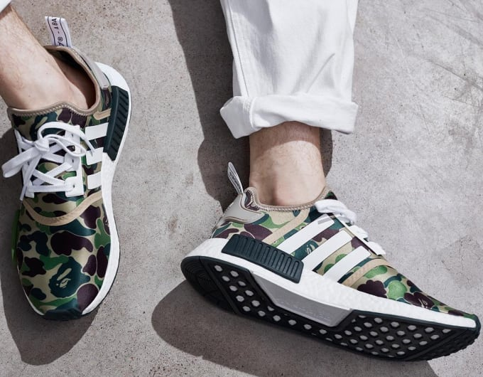 various colors 264aa 4265f Bape Adidas NMD On Feet