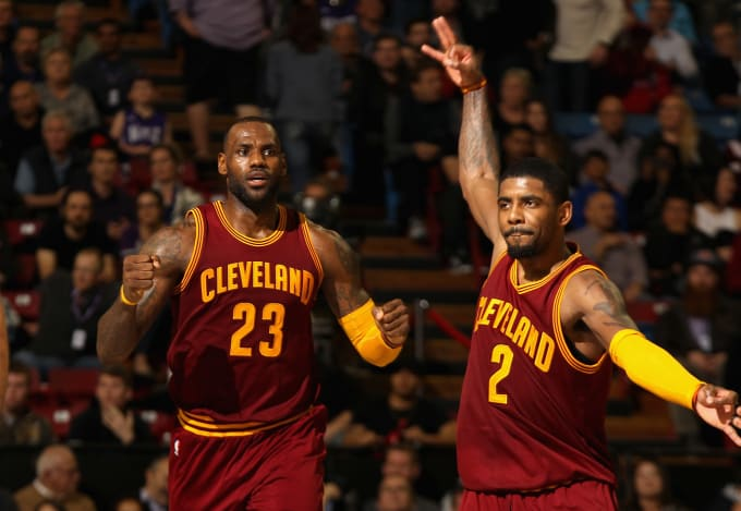 Lebron James And Kyrie Irving Celebrate A Big Play