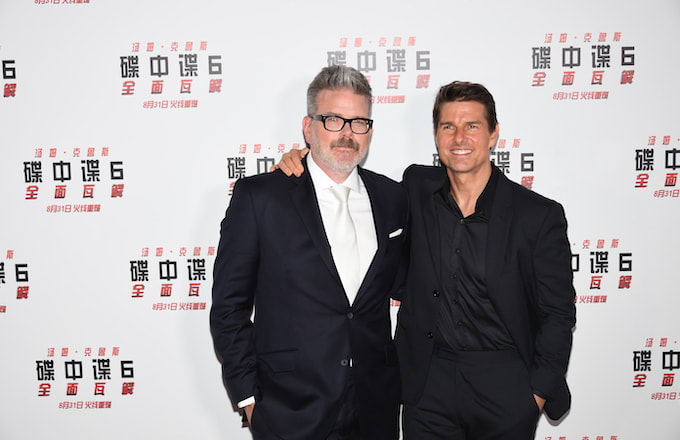 Tom Cruise and Christopher McQuarrie attend 'Mission: Impossible - Fallout' press conference.
