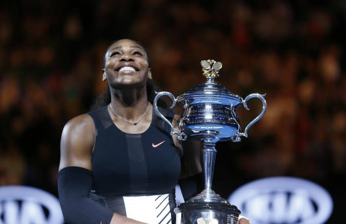 Serena Williams celebrates her win at the 2017 Australian Open.