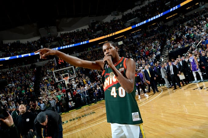 Kevin Durant Returns to Seattle in Shawn Kemp Jersey  6c0b035e7