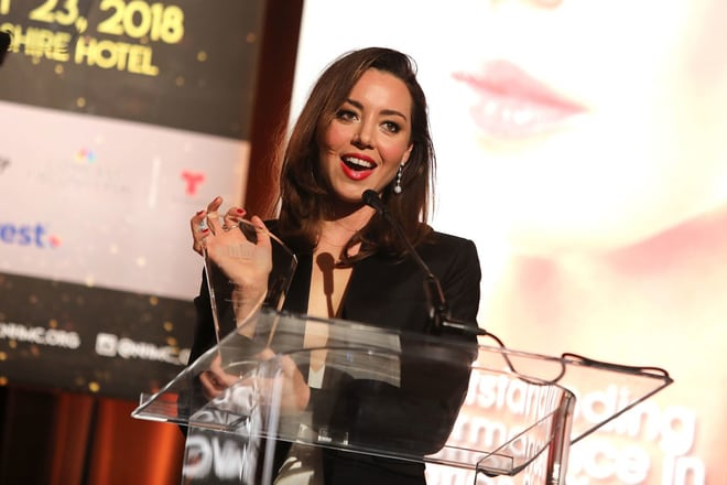 Aubrey Plaza at the 20th Annual National Hispanic Media Coalition Impact Awards Gala.
