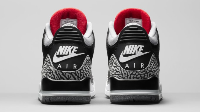 competitive price 8295f ab5f4 Air Jordan 3 III Black Cement Release Date 854262-001 Heel