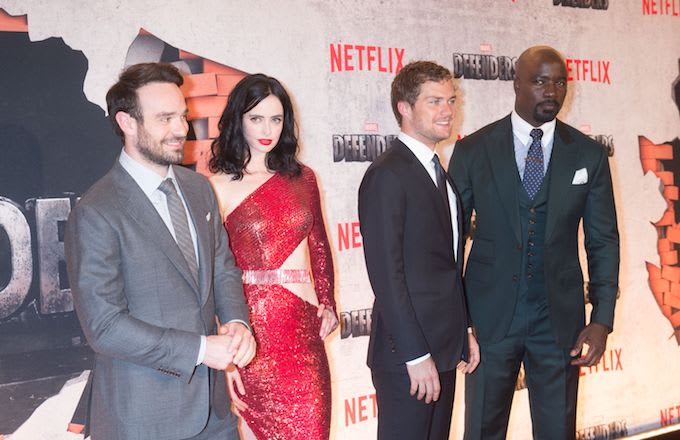 Charlie Cox, Krysten Ritter, Finn Jones and Mike Colter arrive for the Netflix premiere.