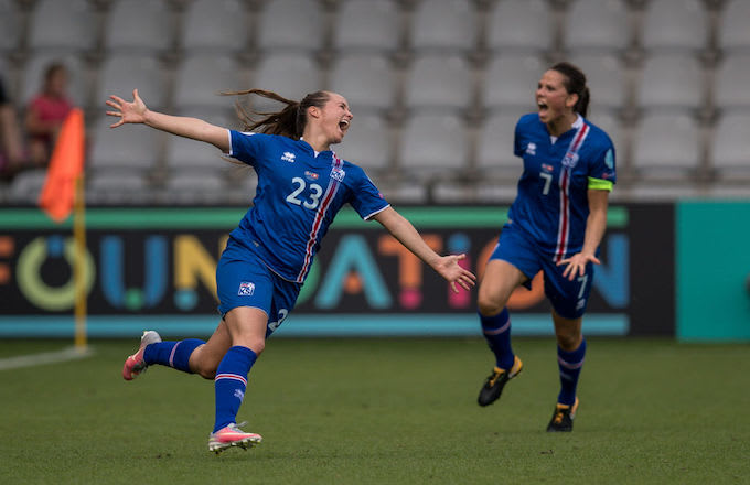 Fanndis Fridriksdottir scores a goal for Iceland in UEFA Women's soccer game.