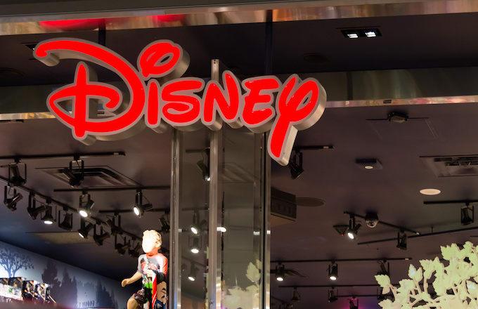 Disney signage inside a shopping mall.