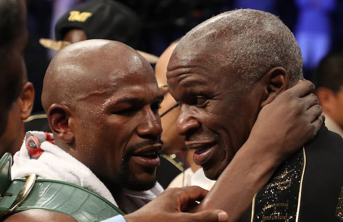Floyd Mayweather Sr. with his son.