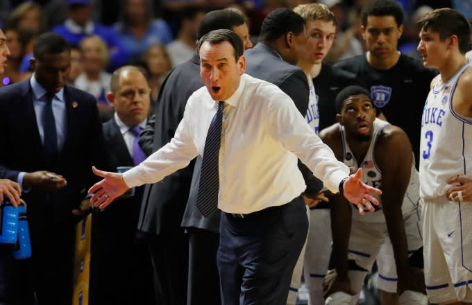 Mike Krzyzewski reacts to a call during a Duke/South Carolina game.