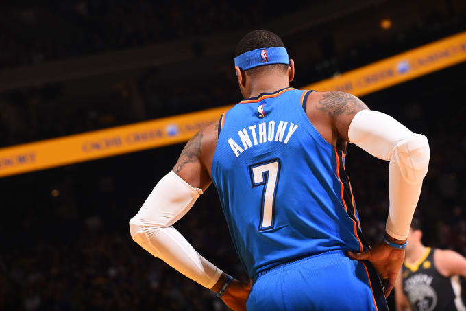 This is a photo of Carmelo Anthony, taken from the back