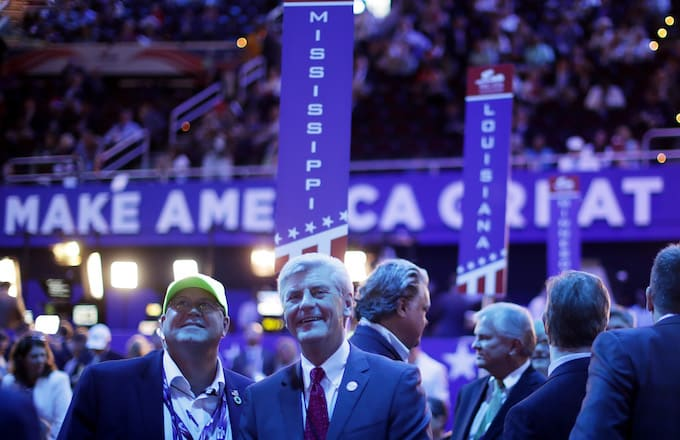 Mississipi Gov. Phil Bryant appears on the floor during the Republican National Convention.