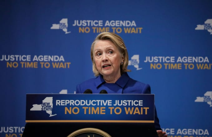 Former Secretary of State Hillary Clinton speaks about reproductive rights at Barnard College