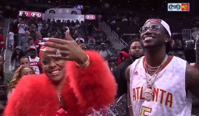 Watch Gucci Mane Propose To His Girlfriend Keyshia Kaoir At Hawks