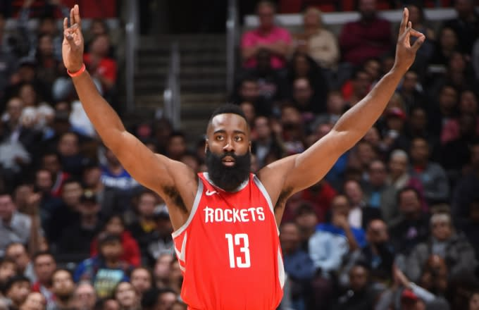 James Harden celebrates making a three-pointer.