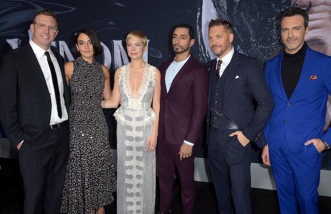 Jenny Slate, Michelle Williams, Riz Ahmed, Tom Hardy, and Reid Scott attend 'Venom' premiere.