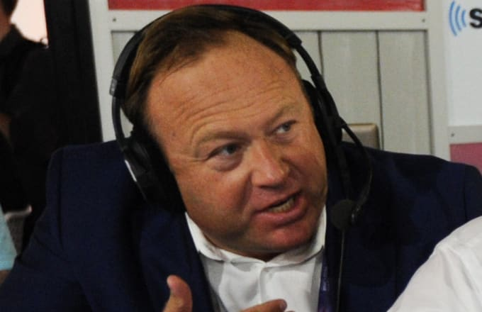 Alex Jones during an episode of Alter Family Politics on SiriusXM.