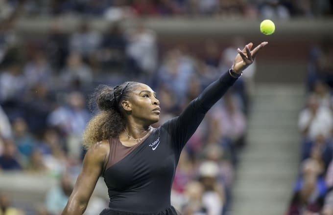 Serena Williams of the United States in action against Naomi Osaka of Japan.