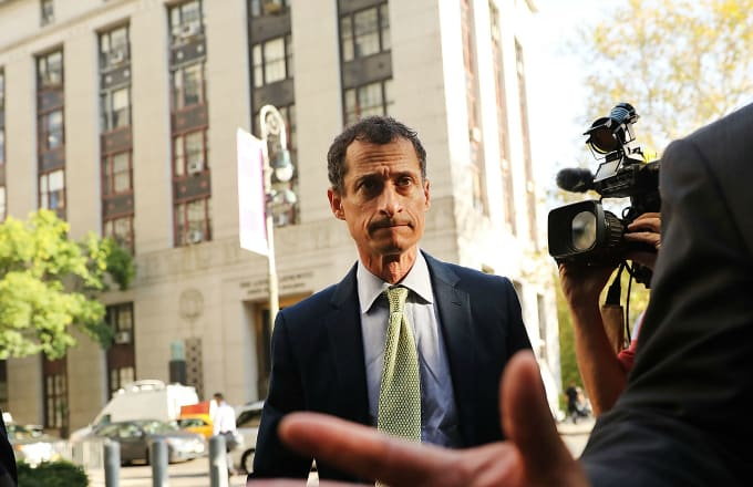 Former congressman Anthony Weiner arrives at a New York courthouse