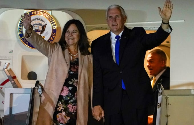 U.S. Vice President Mike Pence and his wife Karen Pence