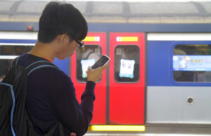 Boy looking at phone