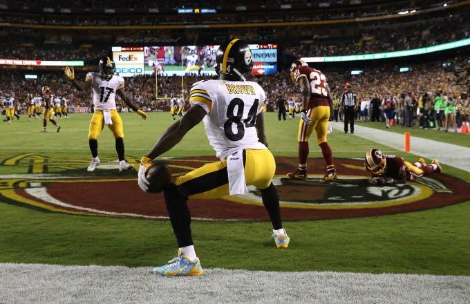 Antonio Brown celebrates a touchdown by twerking.