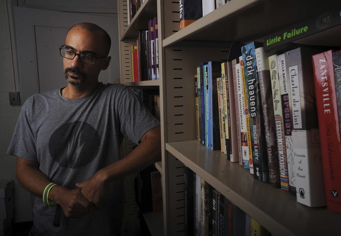 Junot Diaz was photographed at his MIT office