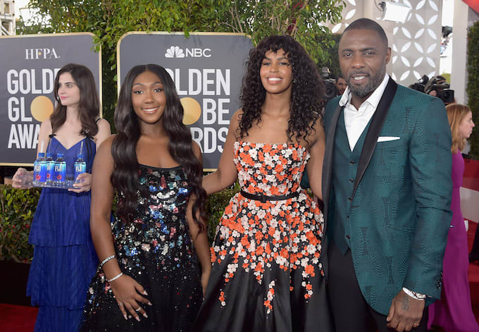 Idris Elba and family at Golden Globes