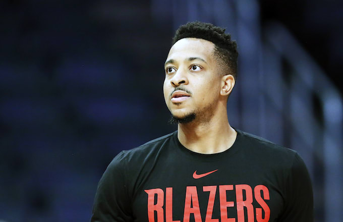 CJ McCollum before the game against the LA Clippers .