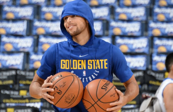 Steph Curry warms up for a game.