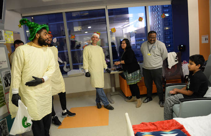 Kyrie Irving debates patient at Boston Children's Hospital